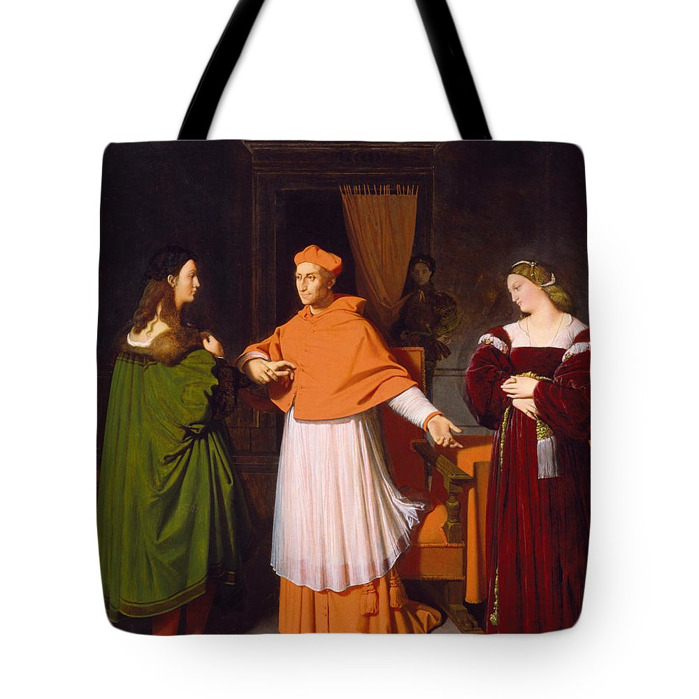 Catholic Tote Bag featuring the painting The Betrothal Of Raphael And The Niece Of Cardinal Bibbiena by Jean-Auguste-Dominique Ingres