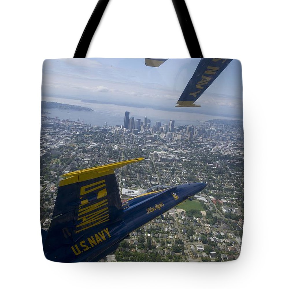 The Blue Angels Over Seattle Tote Bag featuring the painting The Blue Angels Over Seattle by Celestial Images
