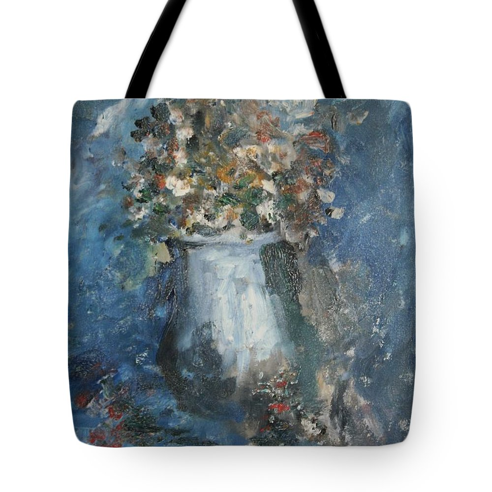 Still Life Tote Bag featuring the painting The Blue Vase by Edward Wolverton