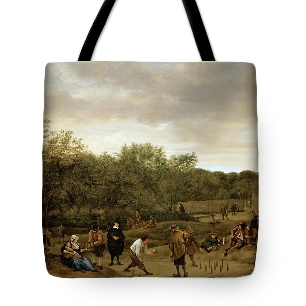 Arts Tote Bag featuring the painting The Bowling Game by Jan Steen