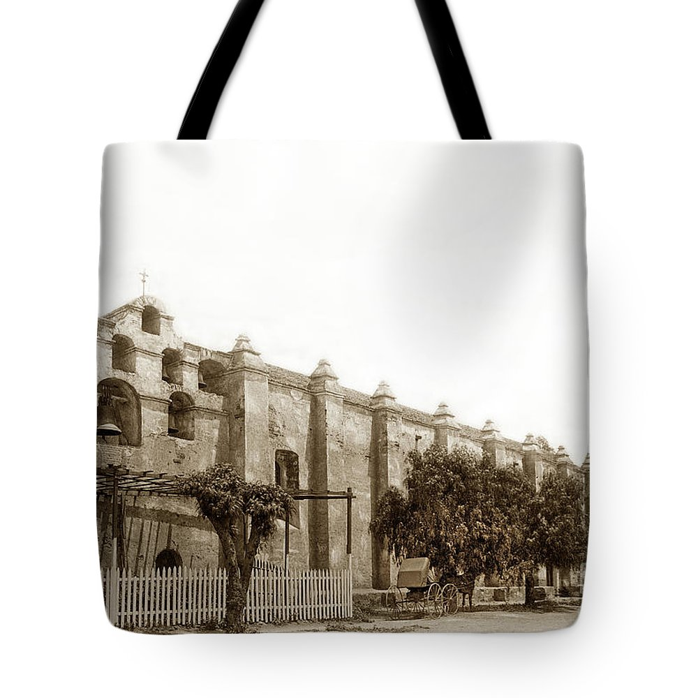 Campanario Tote Bag featuring the photograph The Campanario, Or Bell Tower Of San Gabriel Mission Circa 1890 by California Views Archives Mr Pat Hathaway Archives