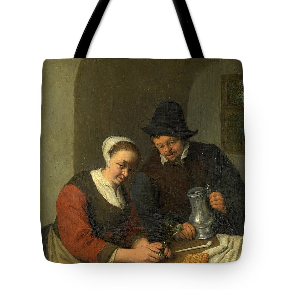 Adriaen Jansz Hendricx Tote Bag featuring the painting The Confidential Service by Adriaen van Ostade