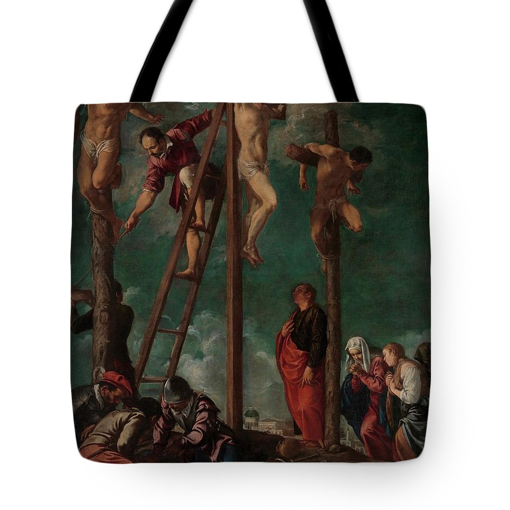 Pedro Orrente The Crucifixion Tote Bag featuring the painting The Crucifixion by Pedro Orrente