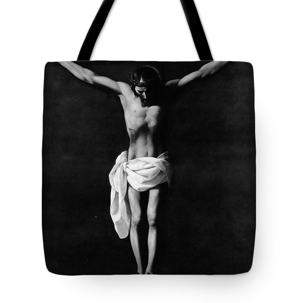 Workshop Of Francisco De Zurbarn The Crucifixion Tote Bag featuring the painting The Crucifixion by Workshop of Francisco de Zurbarn