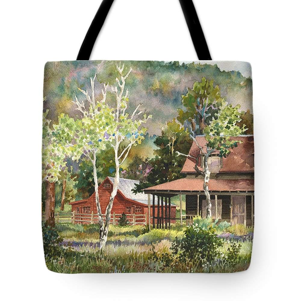 Barn Painting Tote Bag featuring the photograph The Delonde Homestead At Caribou Ranch by Anne Gifford