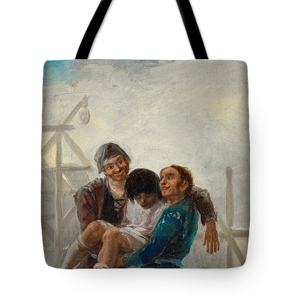 Drinking Tote Bag featuring the painting The Drunken Mason by Francisco Goya