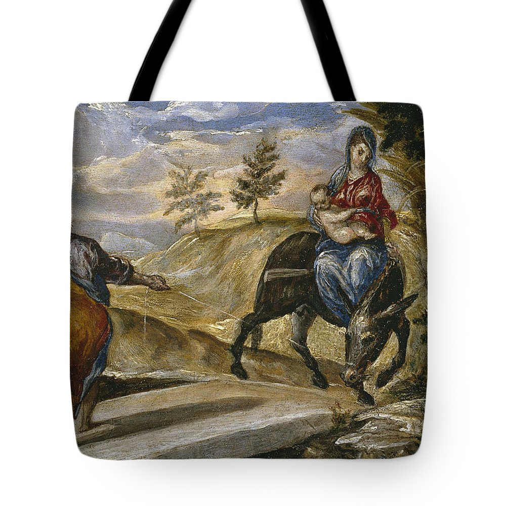 Blessed Virgin Mary Tote Bag featuring the painting The Flight Into Egypt by El Greco