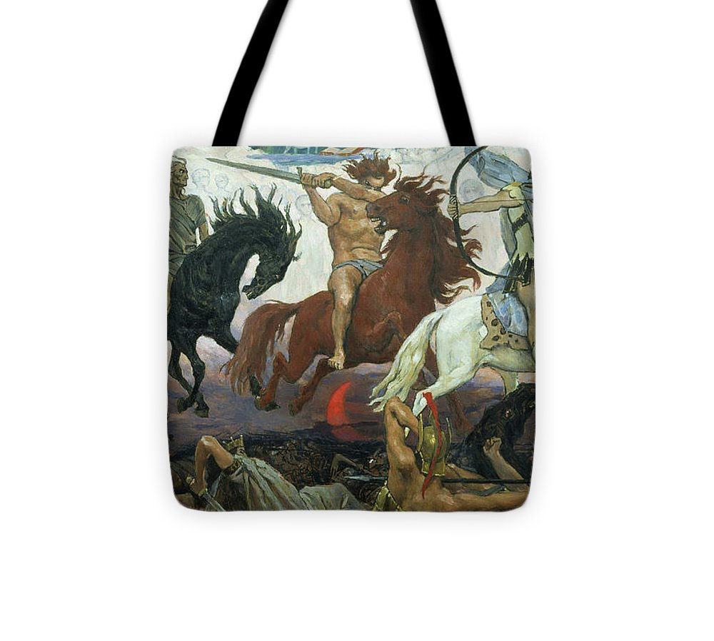 Biblical Tote Bag featuring the painting The Four Horsemen Of The Apocalypse by Victor Mikhailovich Vasnetsov