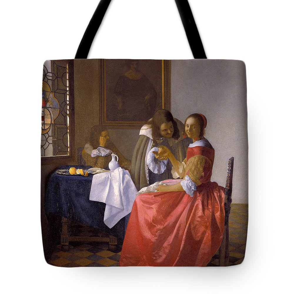 Baroque Tote Bag featuring the painting The Girl With A Wineglass by Johannes Vermeer