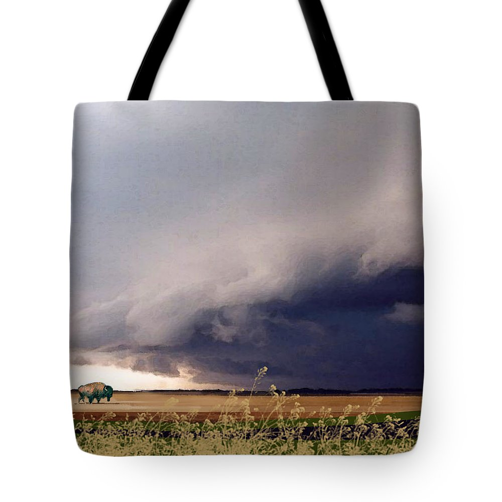 Buffalo Tote Bag featuring the painting The Great Plains by Paul Sachtleben