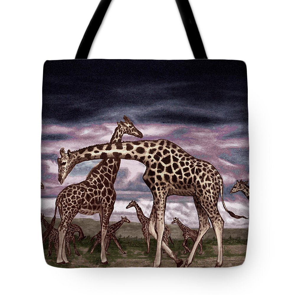 The Herd Tote Bag featuring the drawing The Herd by Peter Piatt