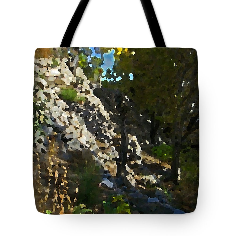 Abstract Tote Bag featuring the digital art The Hidden Garden by Lenore Senior
