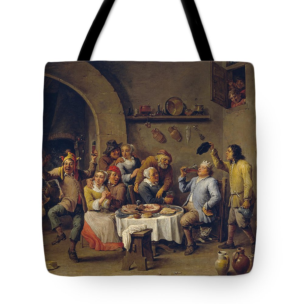 Animal Tote Bag featuring the painting The King Drinks by David Teniers the Younger