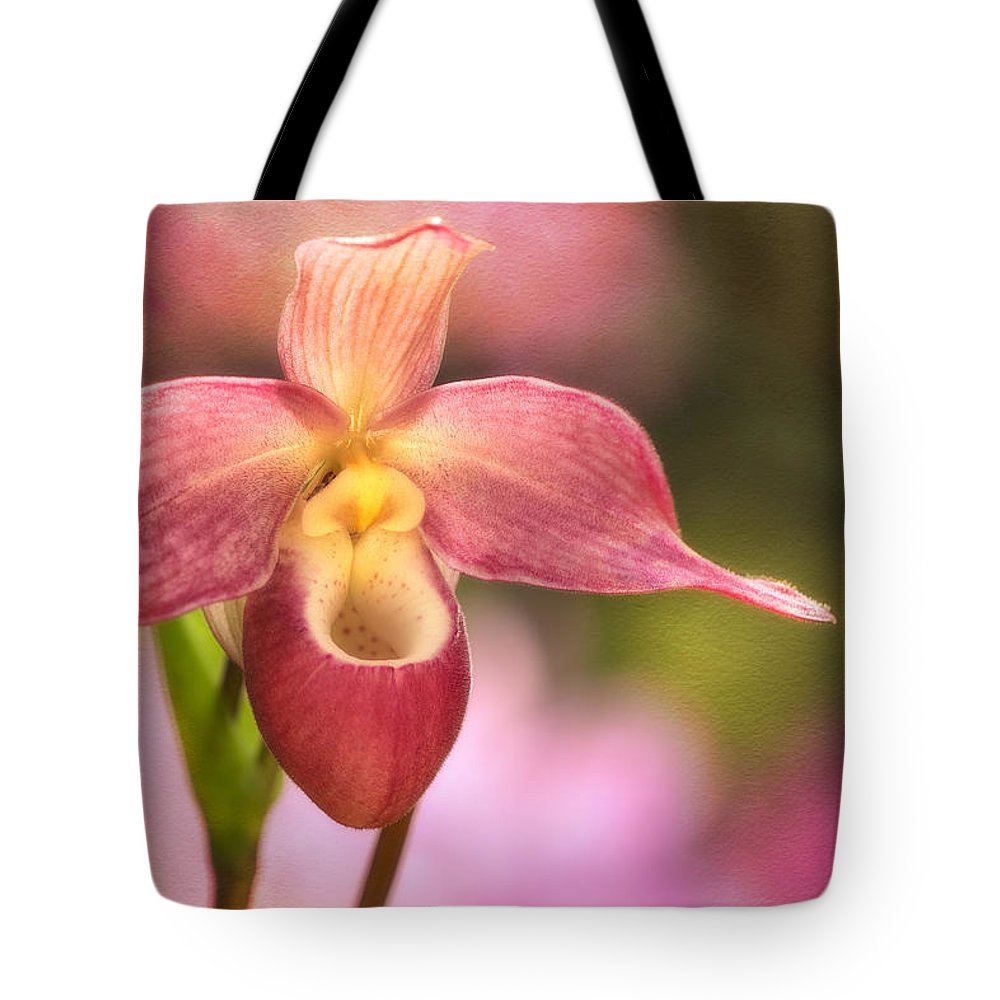Pink-and-white Lady Slipper Tote Bag featuring the photograph The Lady by Linda D Lester