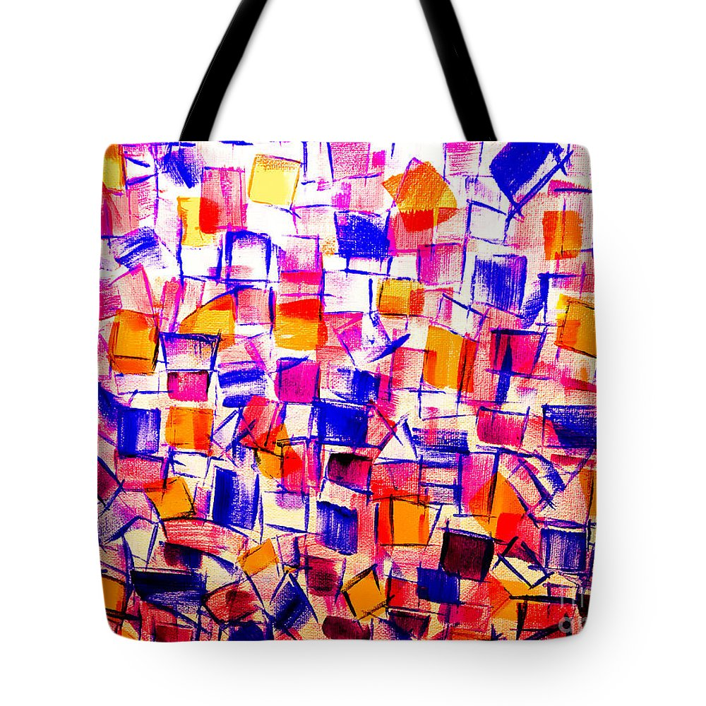 Acrylics Tote Bag featuring the painting The Library by Dirk Weed