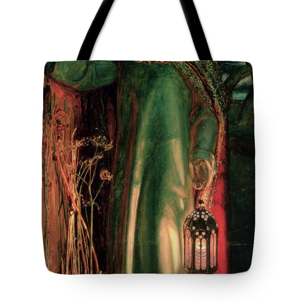 Jesus Tote Bag featuring the painting The Light Of The World by William Holman Hunt