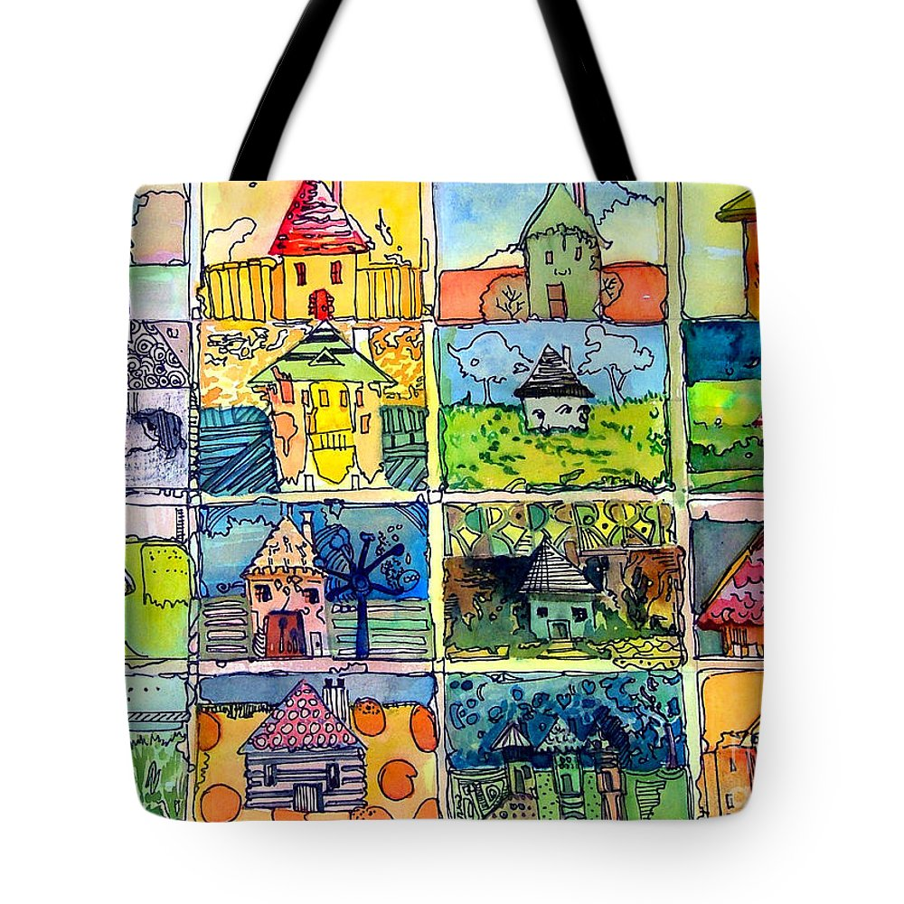 Houses Tote Bag featuring the painting The Little Houses by Mindy Newman