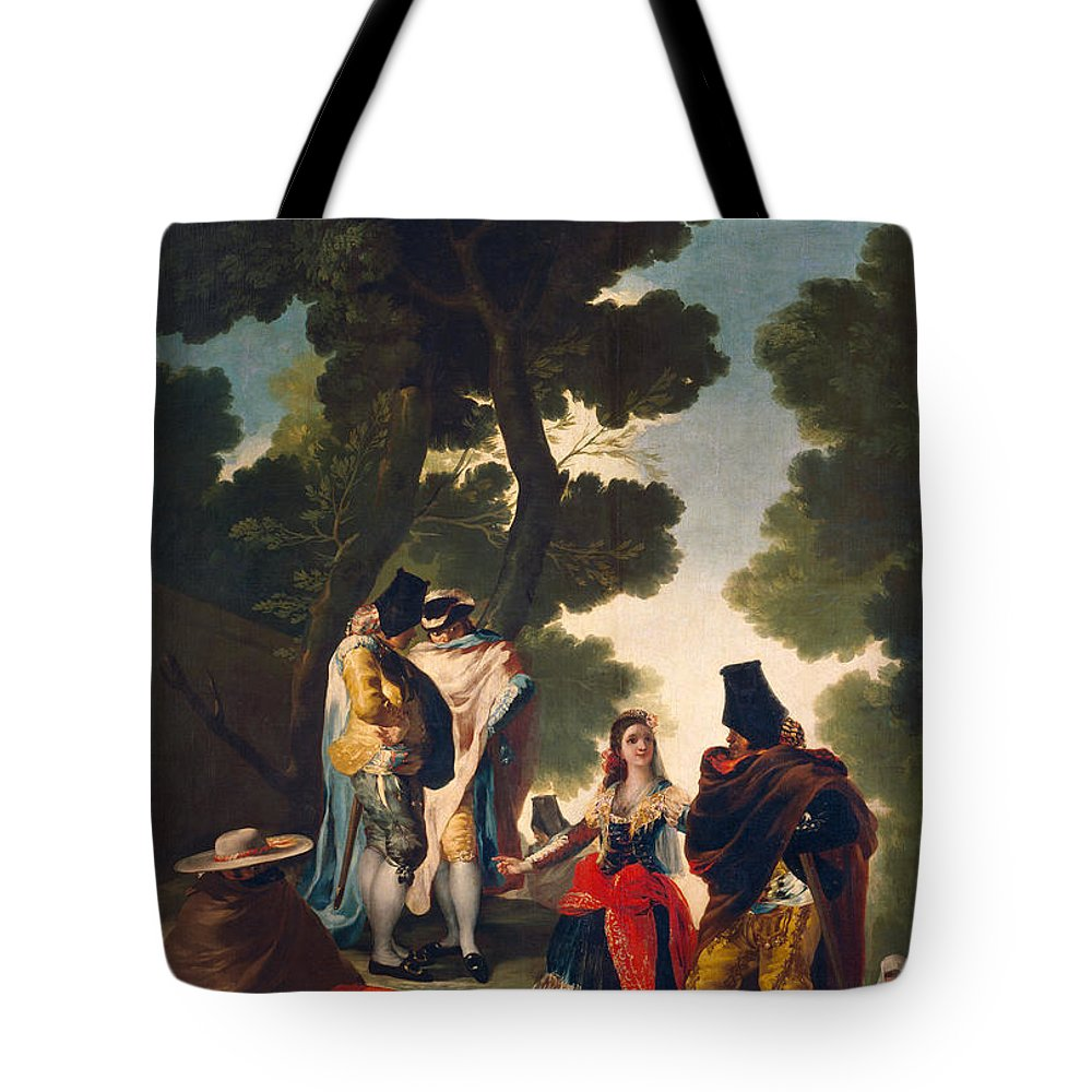 Europe Tote Bag featuring the painting The Maja And The Cloaked Men, Or A Walk Through Andalusia by Francisco Goya