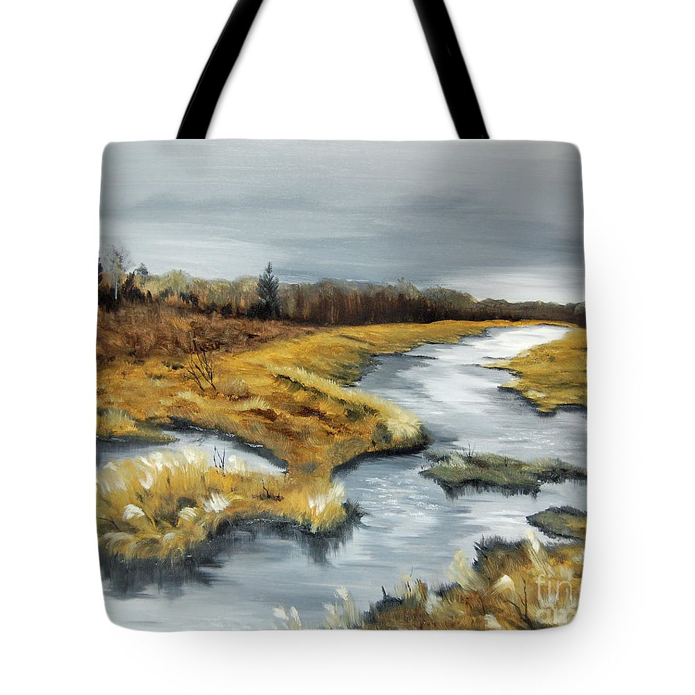 Marsh Tote Bag featuring the painting The Marsh by Mary Tuomi