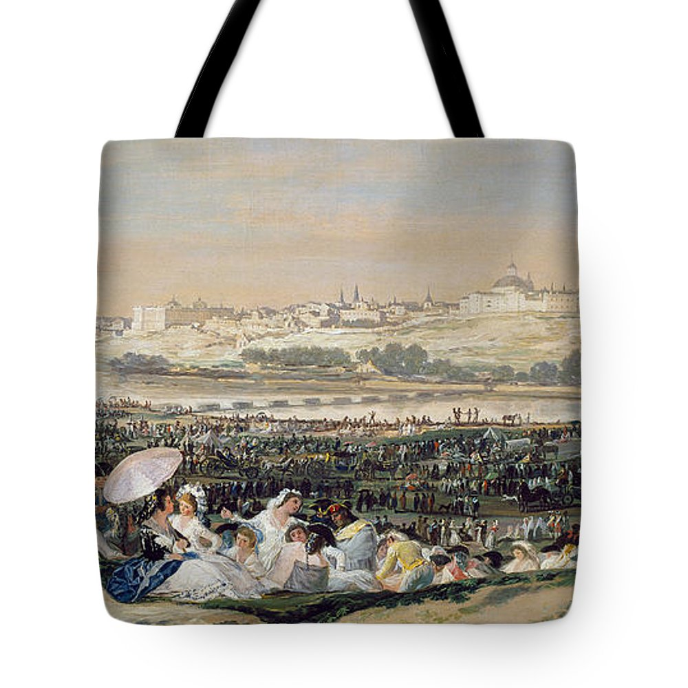 Cityscape Tote Bag featuring the painting The Meadow Of San Isidro by Francisco Goya