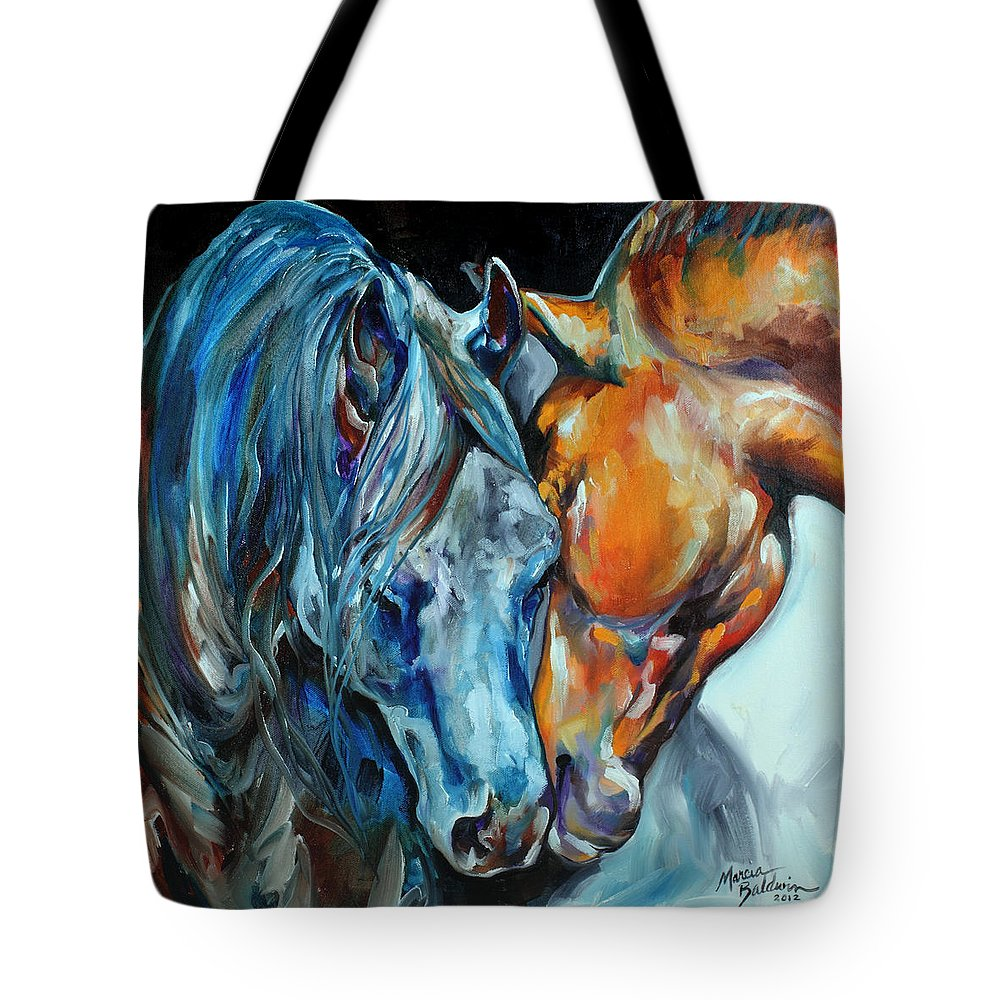Horse Tote Bag featuring the painting The Meeting by Marcia Baldwin