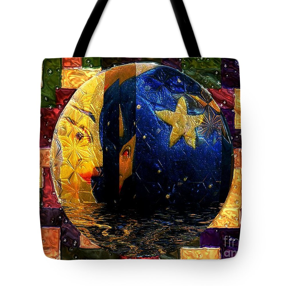 Moon Tote Bag featuring the painting The Moon Has A Bath by RC DeWinter