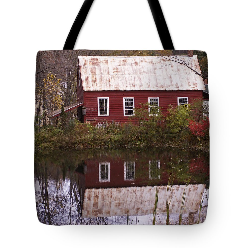 Scenic Tote Bag featuring the photograph The Old Mill House by Nancy Griswold