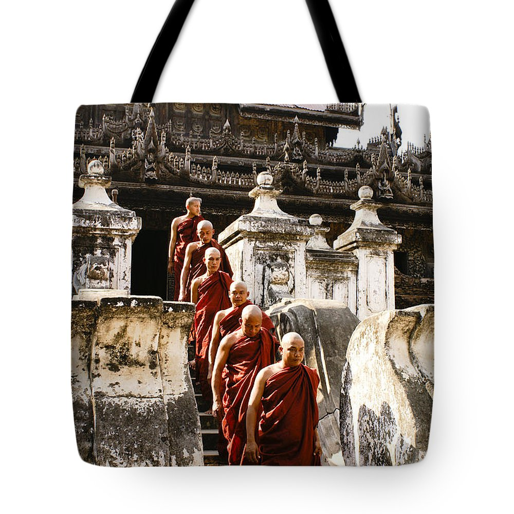 Myanmar Tote Bag featuring the photograph The Old Monastery by Michele Burgess