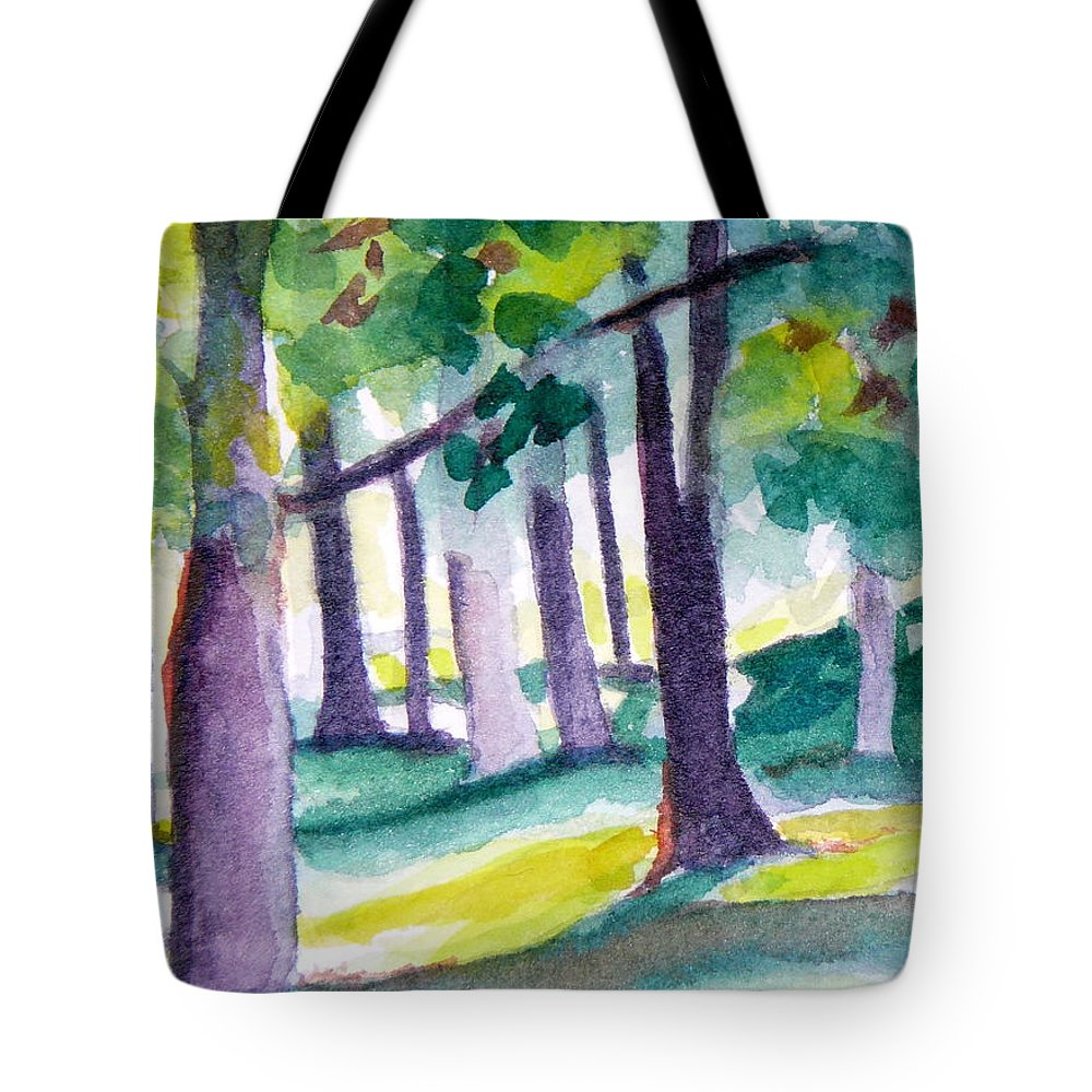 Nature Tote Bag featuring the painting The Perfect Day by Jan Bennicoff