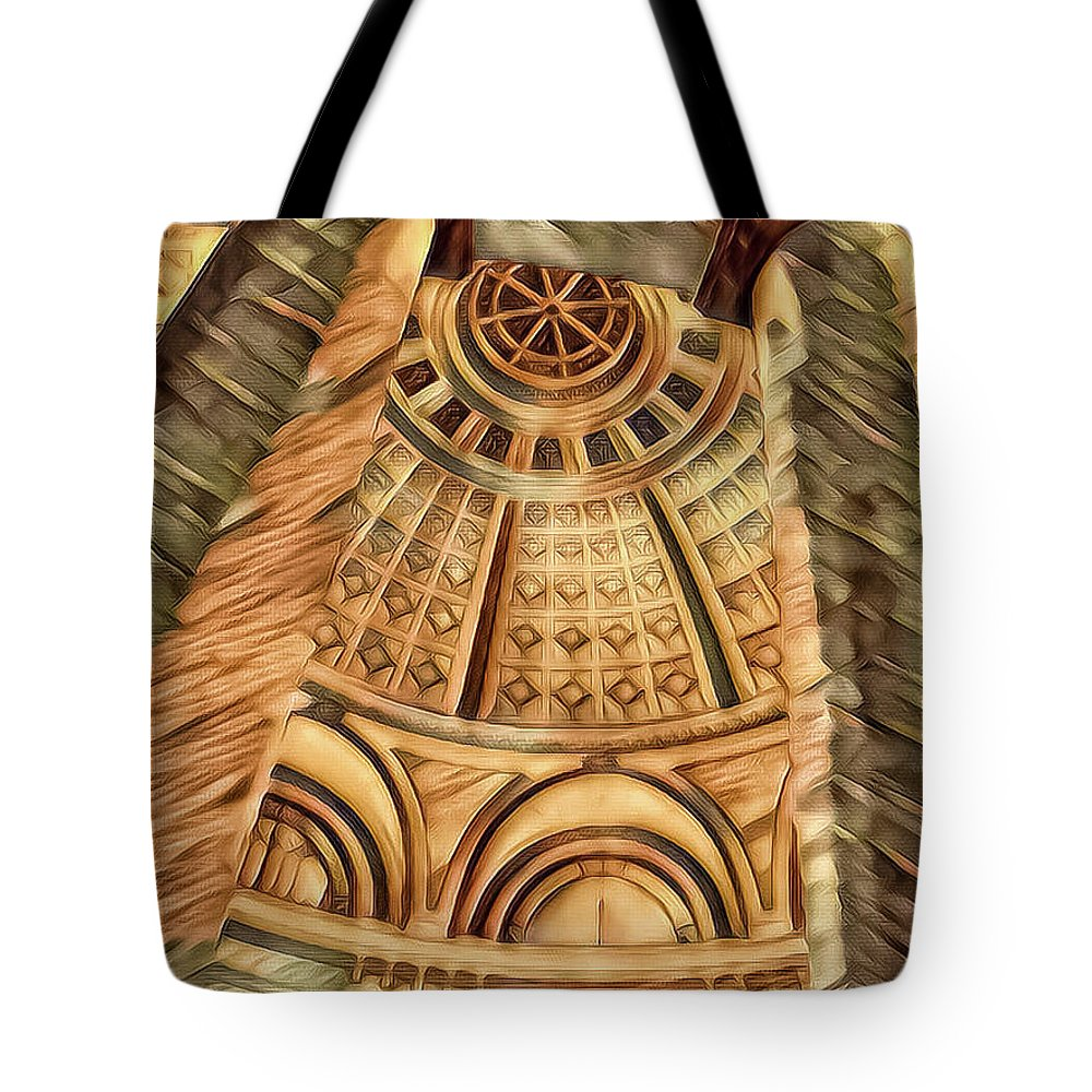 Abstract Tote Bag featuring the mixed media The Poles by Jonathan Nguyen