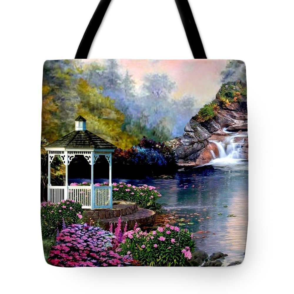 The Tote Bag featuring the photograph The Prayer Garden 3 by Ron Chambers