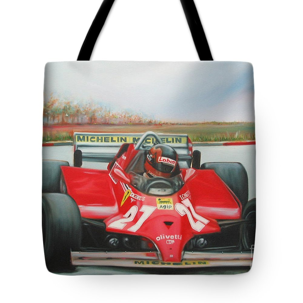 Race Tote Bag featuring the painting The Racing Car by Sukalya Chearanantana
