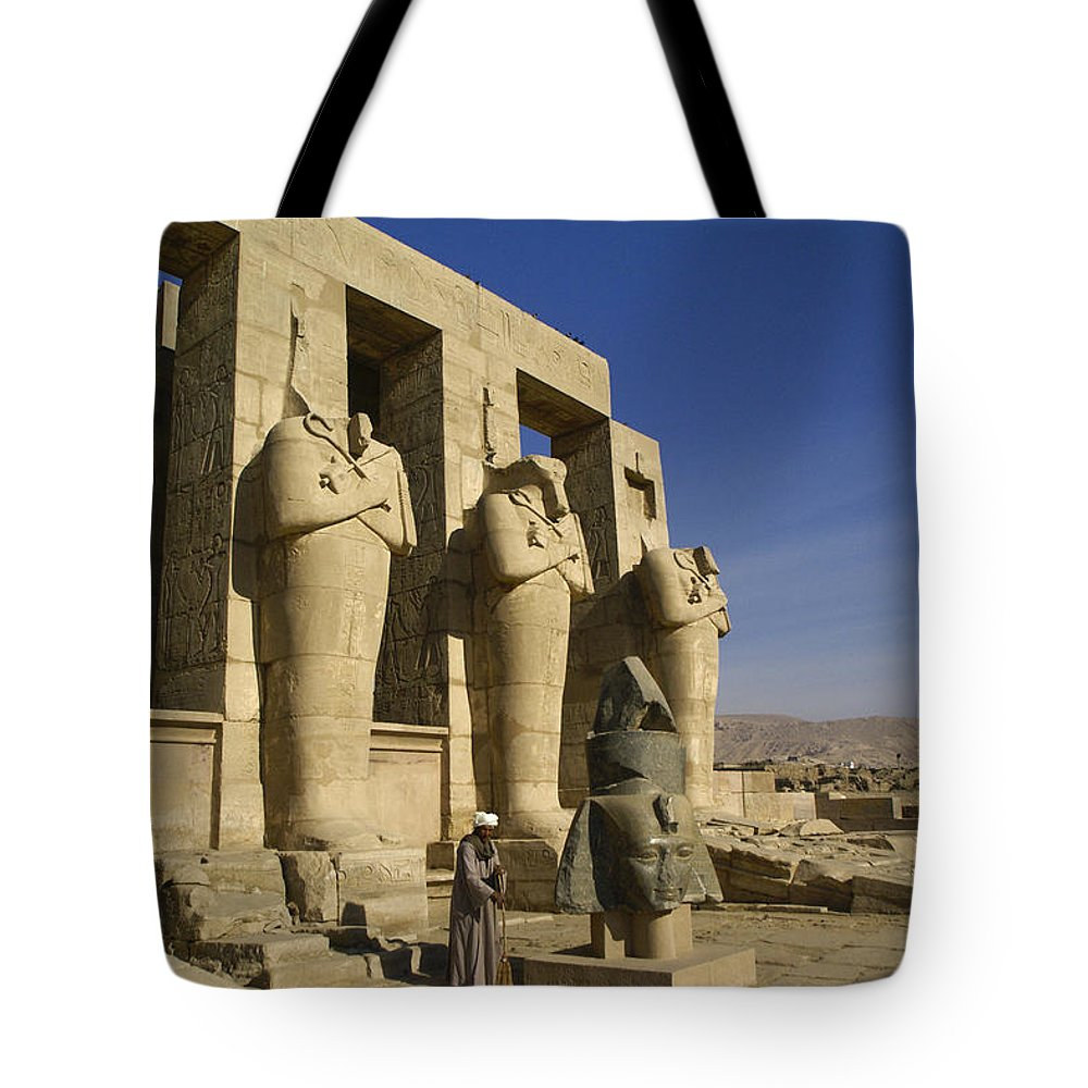 Egypt Tote Bag featuring the photograph The Ramesseum by Michele Burgess