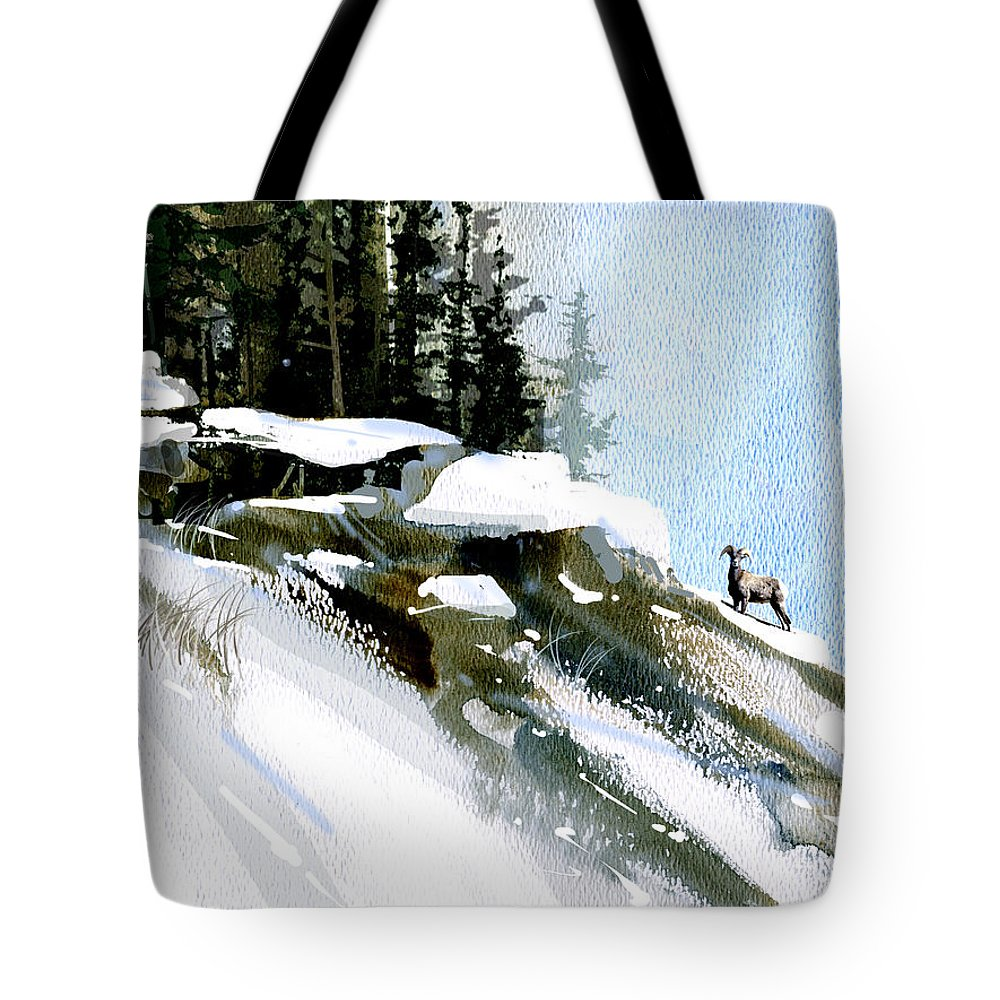 Winter Tote Bag featuring the painting The Steep Climb by Paul Sachtleben