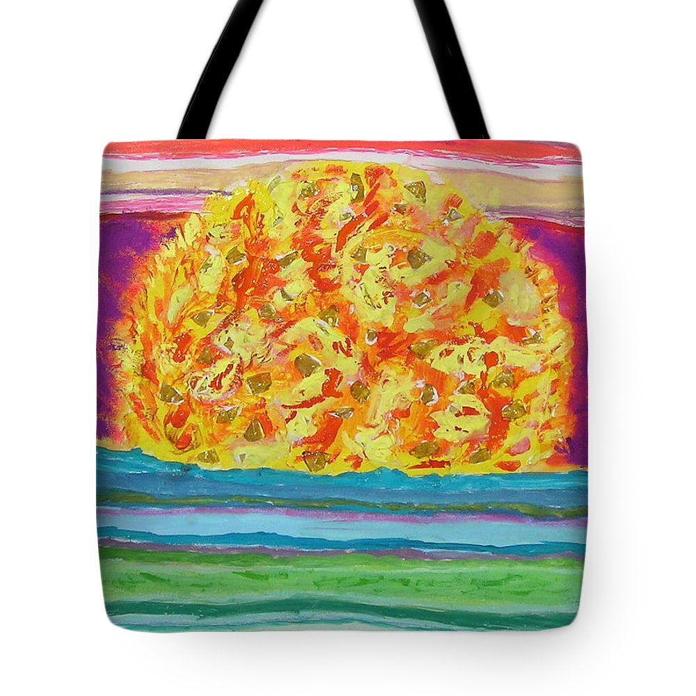 Hot Tote Bag featuring the painting The Sun Drinks The Ocean And Eats The Sky by James Campbell