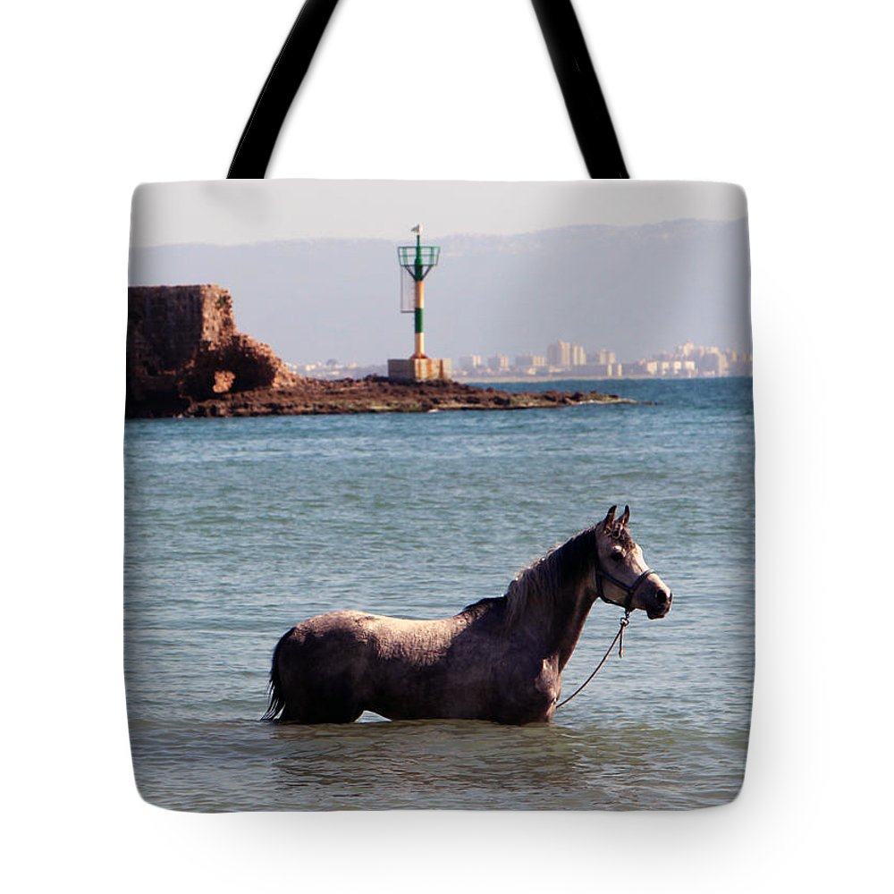 Horse Tote Bag featuring the photograph The Swim by Munir Alawi