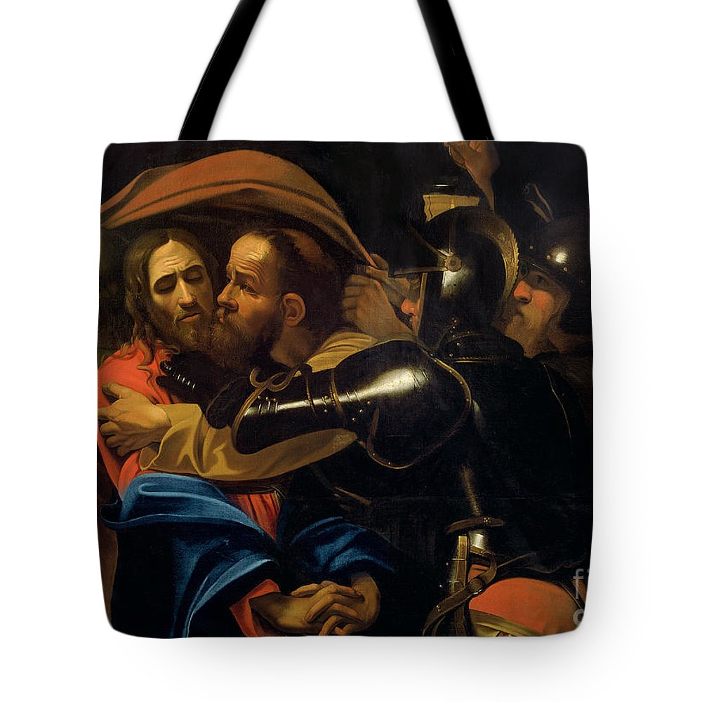 The Taking Of Christ (oil On Canvas) By Michelangelo Caravaggio (1571-1610) Tote Bag featuring the painting The Taking Of Christ by Michelangelo Caravaggio
