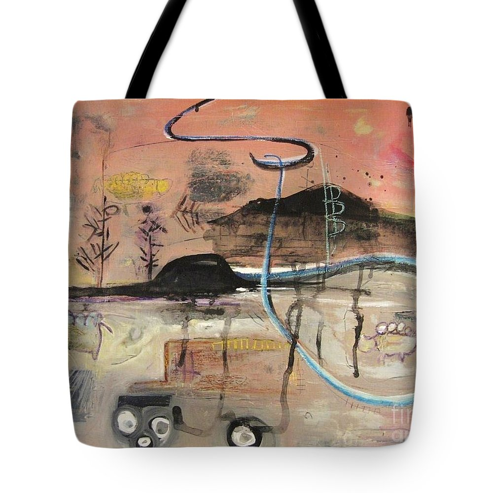 Acrylic Paper Canvas Abstract Contemporary Landscape Dusk Twilight Countryside Tote Bag featuring the painting The Tempo Of A Day by Seon-Jeong Kim
