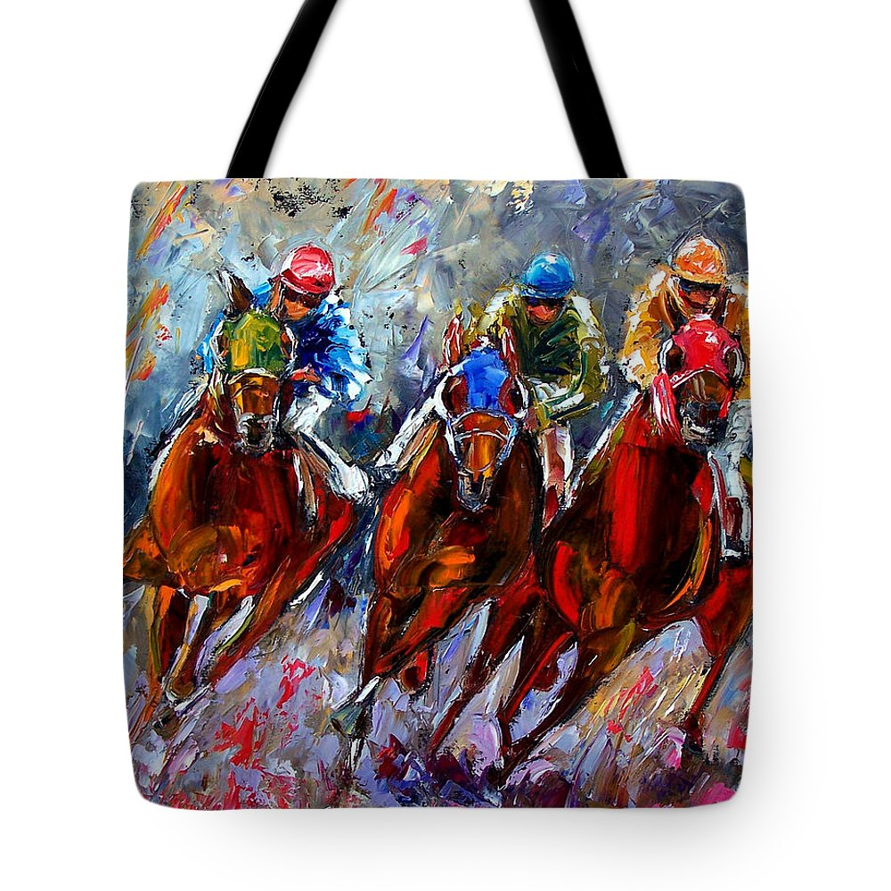 Horse Race Tote Bag featuring the painting The Turn by Debra Hurd