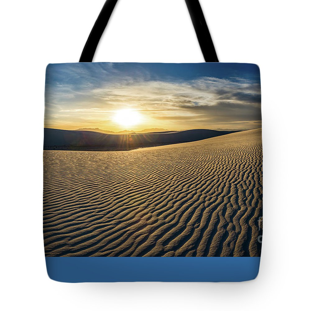 White Sands National Monument Tote Bag featuring the photograph The Unique And Beautiful White Sands National Monument In New Mexico. by Jamie Pham
