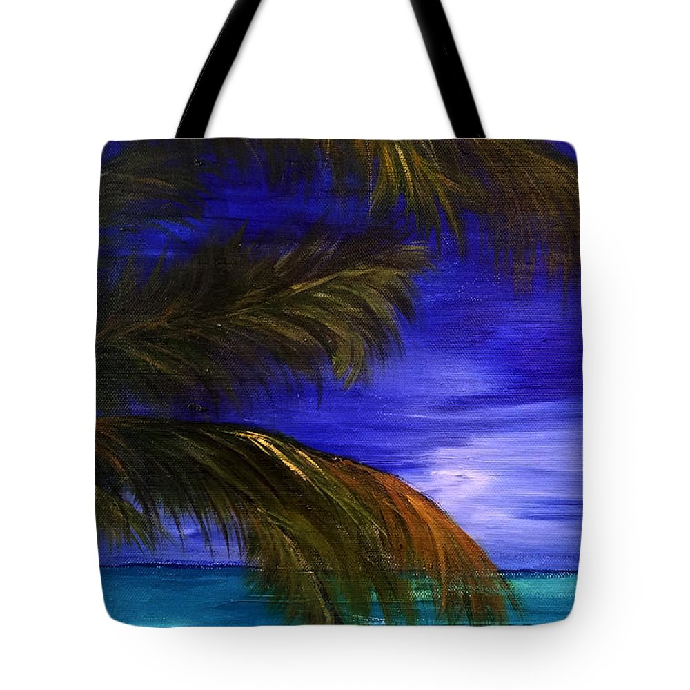 Trees Tote Bag featuring the painting The View by Monique Mcknight