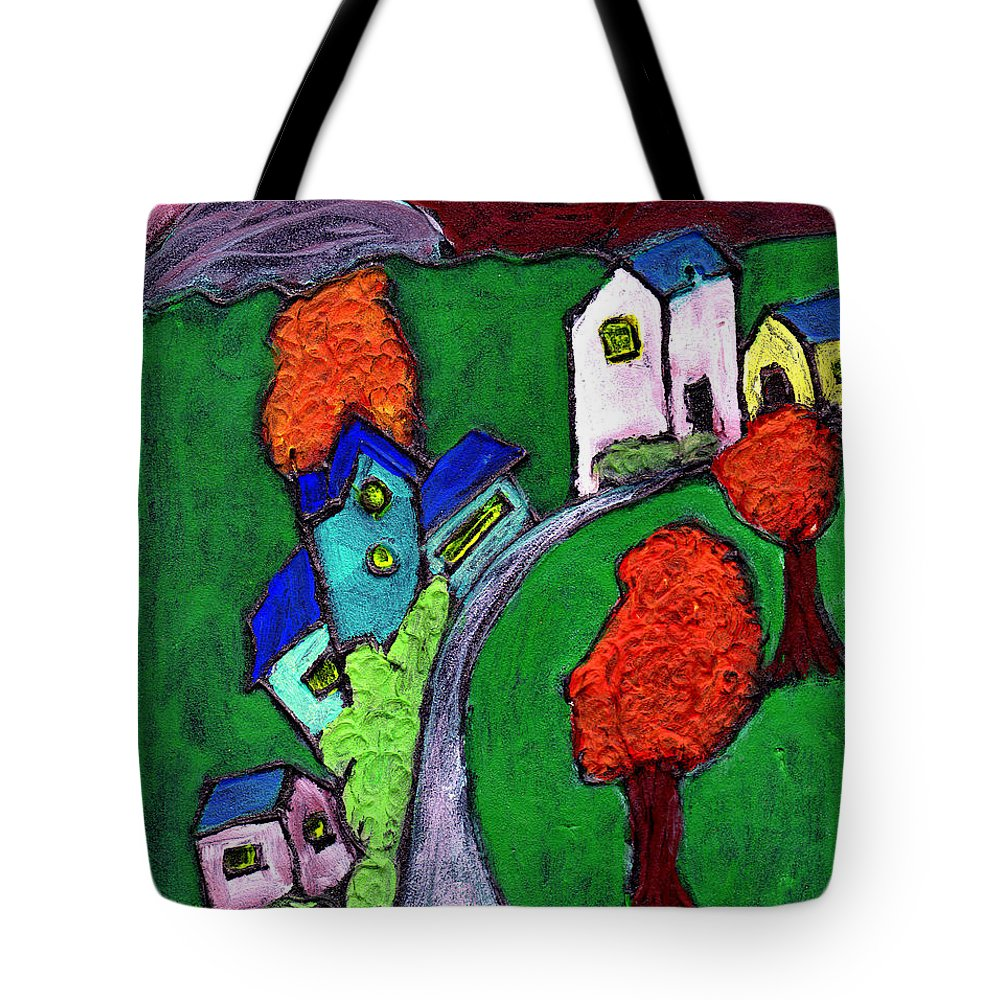 Whimsical Tote Bag featuring the painting There Was A Crooked House by Wayne Potrafka