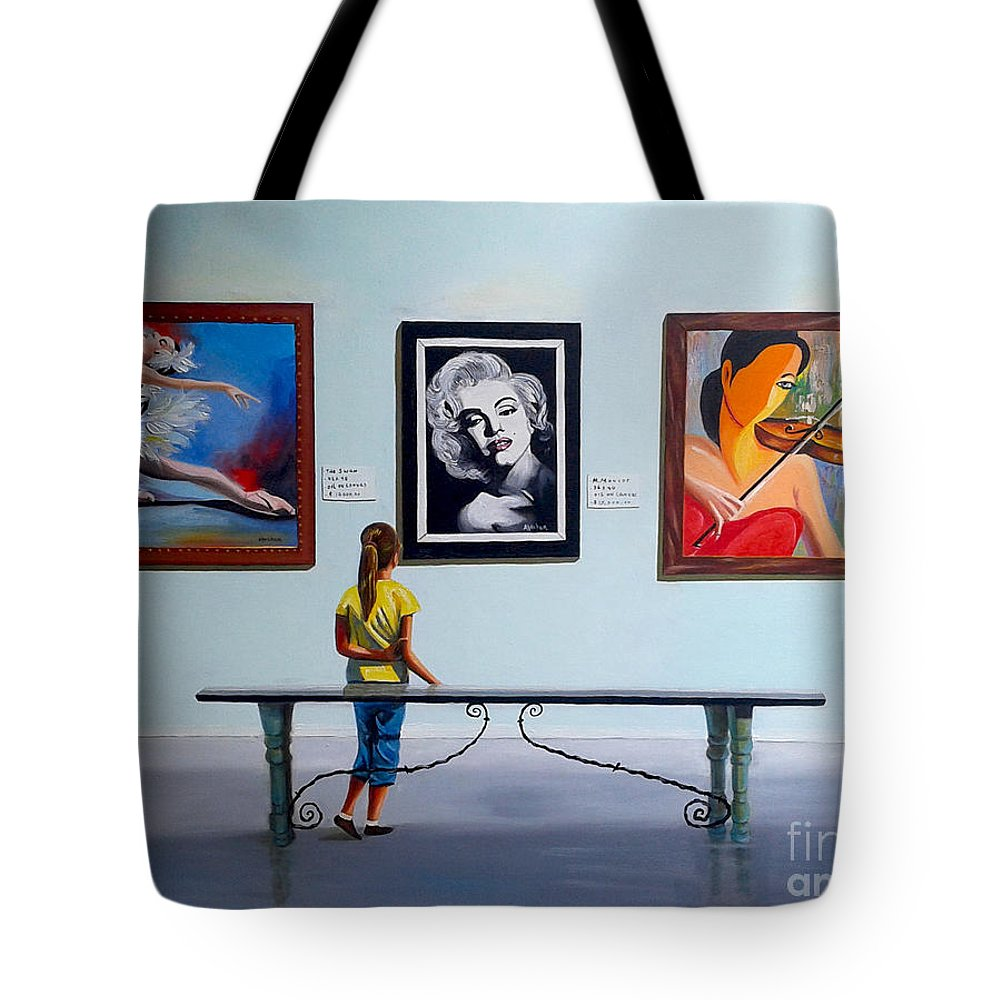 Dancing Tote Bag featuring the painting I want to be by Jose Manuel Abraham