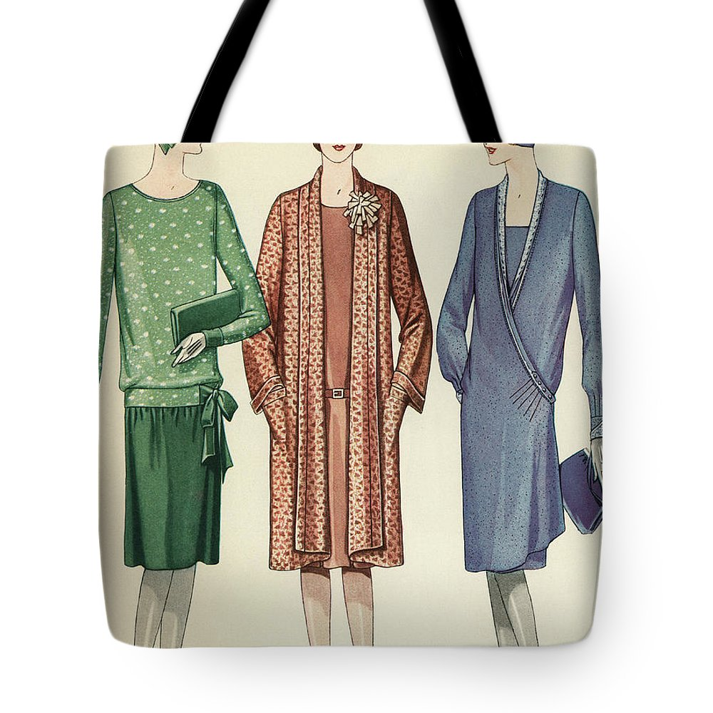 Flapper Tote Bag featuring the painting Three Flappers Modelling French Designer Outfits, 1928 by American School