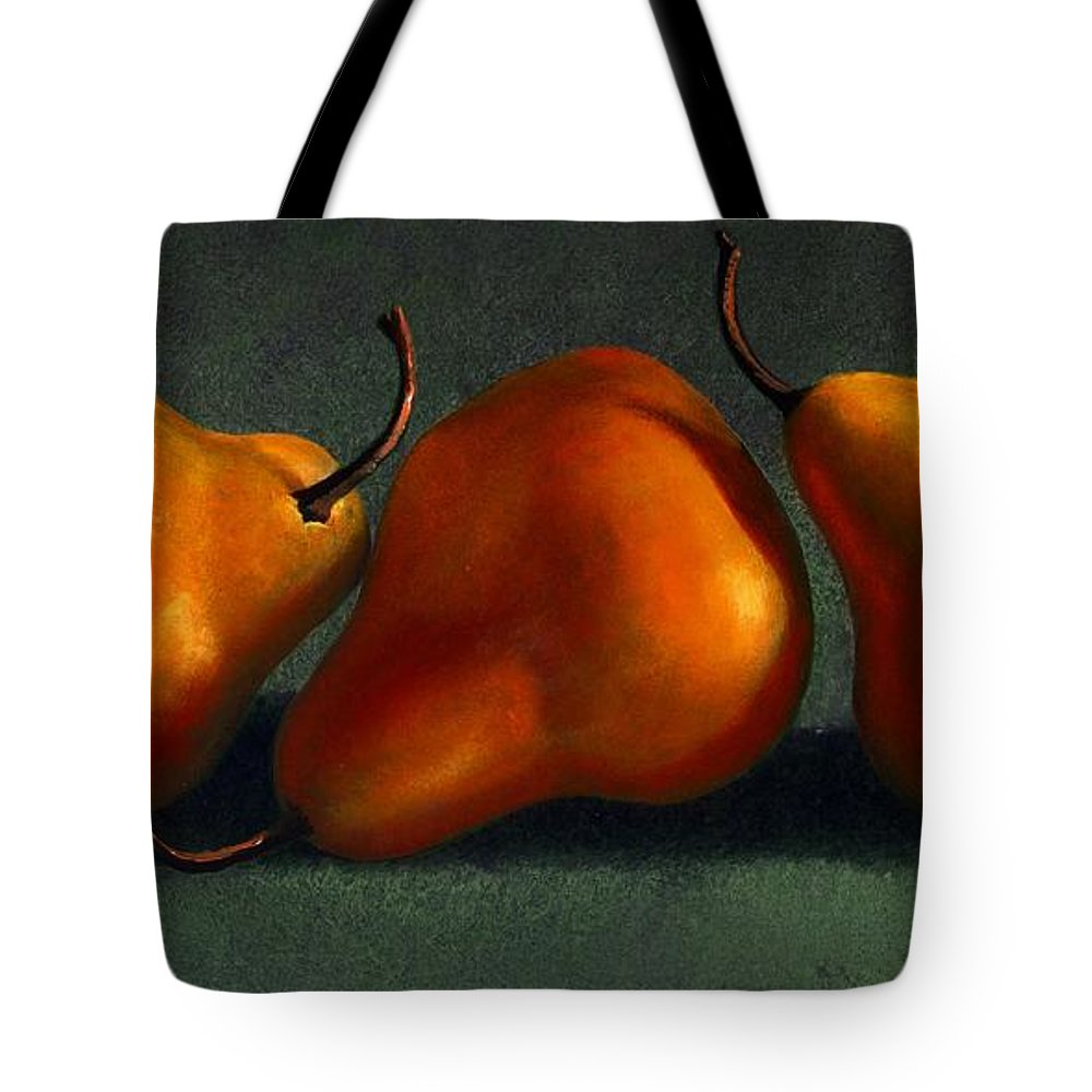 Still Life Tote Bag featuring the painting Three Golden Pears by Frank Wilson