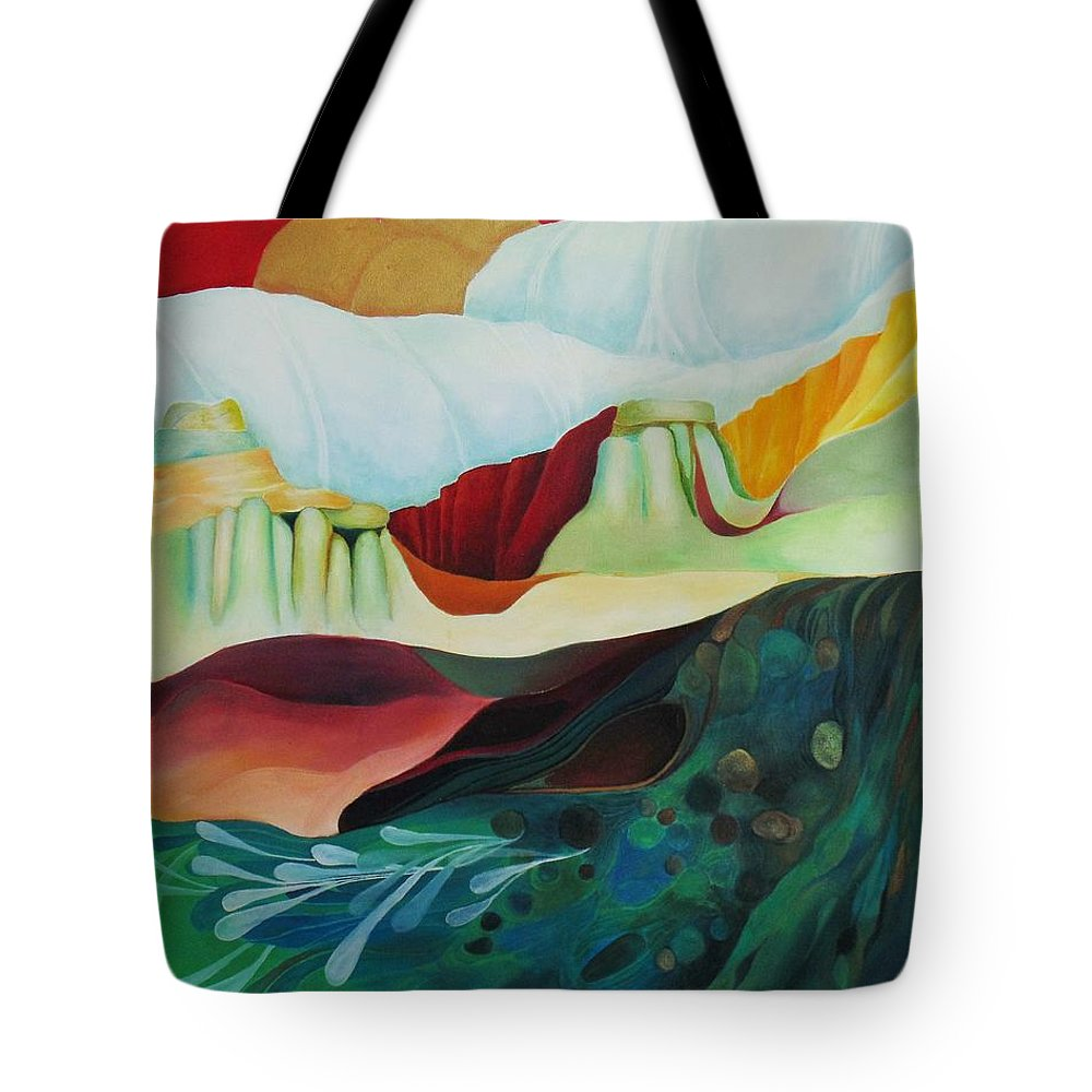 Landscape Tote Bag featuring the painting Three Moons by Peggy Guichu