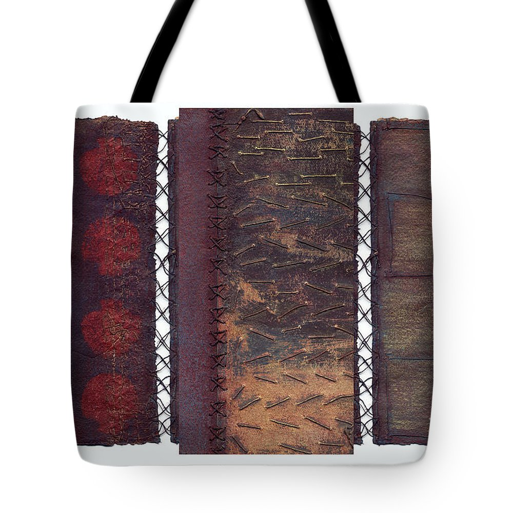 3panel Tote Bag featuring the painting Three Panel Transitional Page Format by Kerryn Madsen- Pietsch
