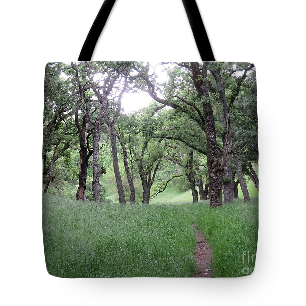 Landscape Tote Bag featuring the photograph Through The Meadow by Suzanne Leonard