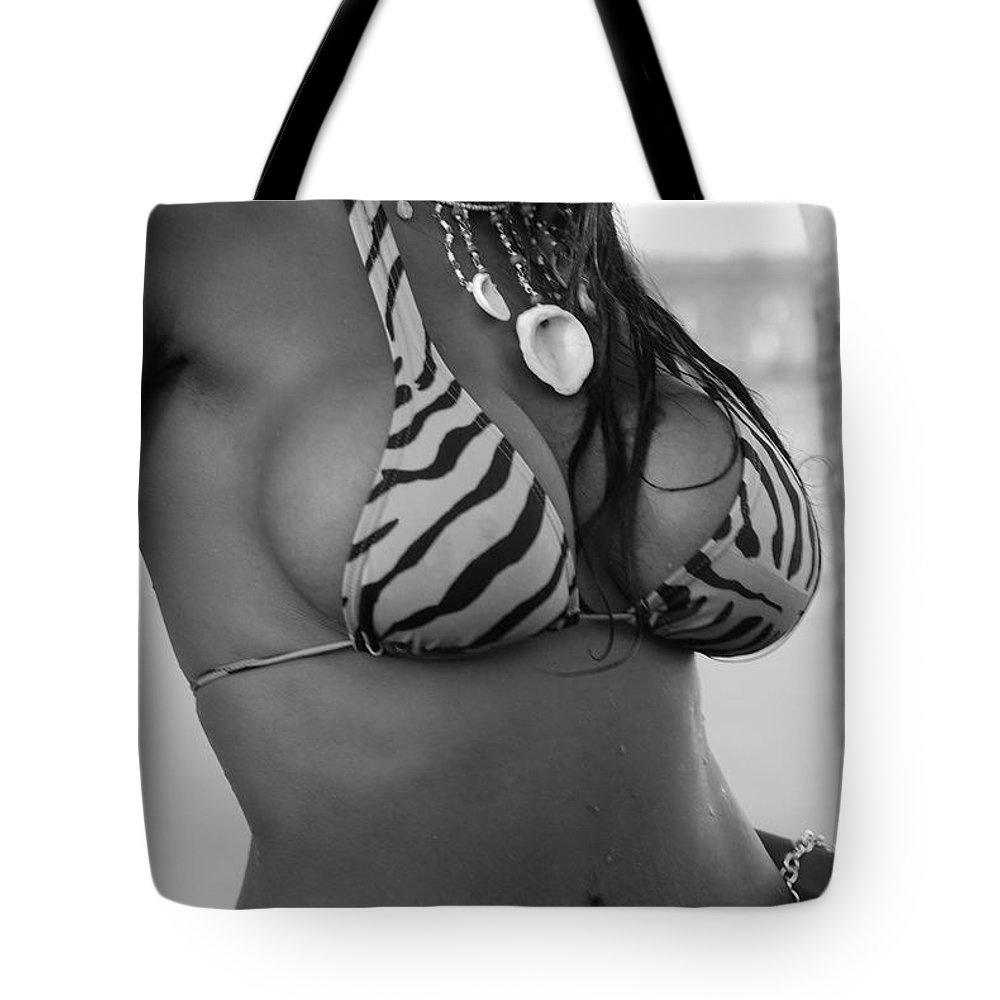 Black And White Tote Bag featuring the photograph Tiger Strips by Rob Hans