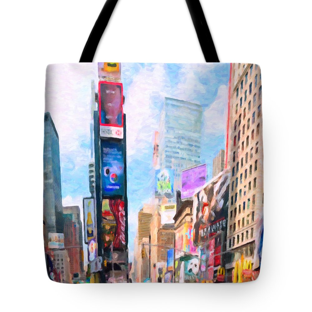 New Tote Bag featuring the painting Times Square by Jeelan Clark